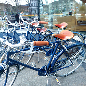 royal blue bicycles available for free to all hotel guests
