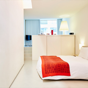 hotelzimmer design double room mit bett